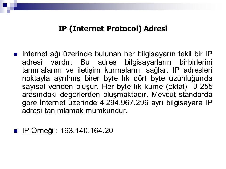 IP (Internet Protocol) Adresi Internet ağı üzerinde bulunan her bilgisayarın tekil bir IP adresi vardır. Bu adres bilgisayarların birbirlerini tanımal
