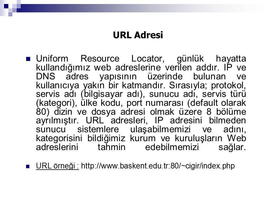 URL Adresi Uniform Resource Locator, günlük hayatta kullandığımız web adreslerine verilen addır. IP ve DNS adres yapısının üzerinde bulunan ve kullanı
