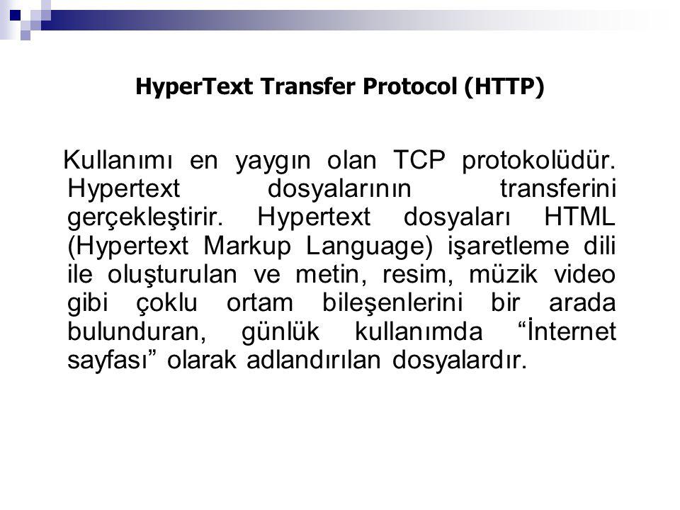 HyperText Transfer Protocol (HTTP) Kullanımı en yaygın olan TCP protokolüdür. Hypertext dosyalarının transferini gerçekleştirir. Hypertext dosyaları H