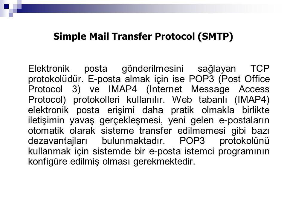 Simple Mail Transfer Protocol (SMTP) Elektronik posta gönderilmesini sağlayan TCP protokolüdür. E-posta almak için ise POP3 (Post Office Protocol 3) v