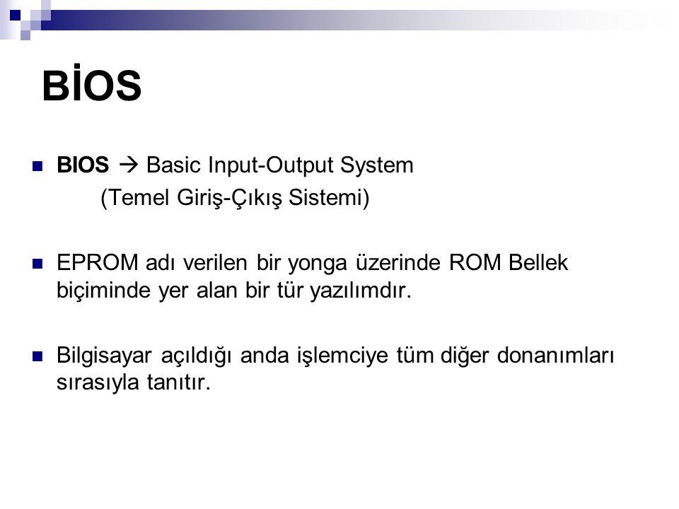 BİOS BIOS  Basic Input-Output System (Temel Giriş-Çıkış Sistemi) EPROM adı verilen bir yonga üzerinde ROM Bellek biçiminde yer alan bir tür yazılımdı