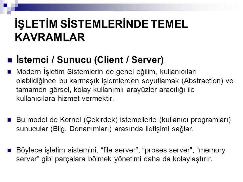 İŞLETİM SİSTEMLERİNDE TEMEL KAVRAMLAR İstemci / Sunucu (Client / Server) Modern İşletim Sistemlerin de genel eğilim, kullanıcıları olabildiğince bu ka