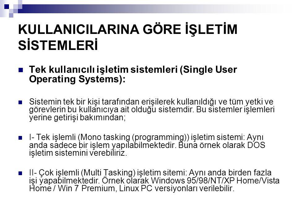 KULLANICILARINA GÖRE İŞLETİM SİSTEMLERİ Tek kullanıcılı işletim sistemleri (Single User Operating Systems): Sistemin tek bir kişi tarafından erişilere