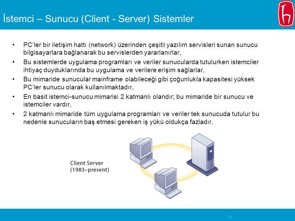 10 İstemci – Sunucu (Client - Server) Sistemler PC'ler bir iletişim hattı (network) üzerinden çeşitli yazılım servisleri sunan sunucu bilgisayarlara bağlanarak bu servislerden yararlanırlar, Bu sistemlerde uygulama programları ve veriler sunucularda tutulurken istemciler ihtiyaç duyduklarında bu uygulama ve verilere erişim sağlarlar, Bu mimaride sunucular mainframe olabileceği gibi çoğunlukla kapasitesi yüksek PC'ler sunucu olarak kullanılmaktadır, En basit istemci-sunucu mimarisi 2 katmanlı olandır; bu mimaride bir sunucu ve istemciler vardır, 2 katmanlı mimaride tüm uygulama programları ve veriler tek sunucuda tutulur bu nedenle sunucuların baş etmesi gereken iş yükü oldukça fazladır.