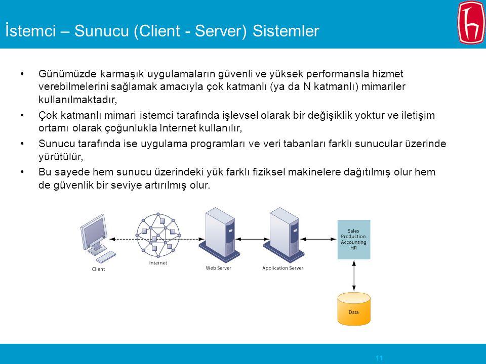 11 İstemci – Sunucu (Client - Server) Sistemler Günümüzde karmaşık uygulamaların güvenli ve yüksek performansla hizmet verebilmelerini sağlamak amacıyla çok katmanlı (ya da N katmanlı) mimariler kullanılmaktadır, Çok katmanlı mimari istemci tarafında işlevsel olarak bir değişiklik yoktur ve iletişim ortamı olarak çoğunlukla Internet kullanılır, Sunucu tarafında ise uygulama programları ve veri tabanları farklı sunucular üzerinde yürütülür, Bu sayede hem sunucu üzerindeki yük farklı fiziksel makinelere dağıtılmış olur hem de güvenlik bir seviye artırılmış olur.
