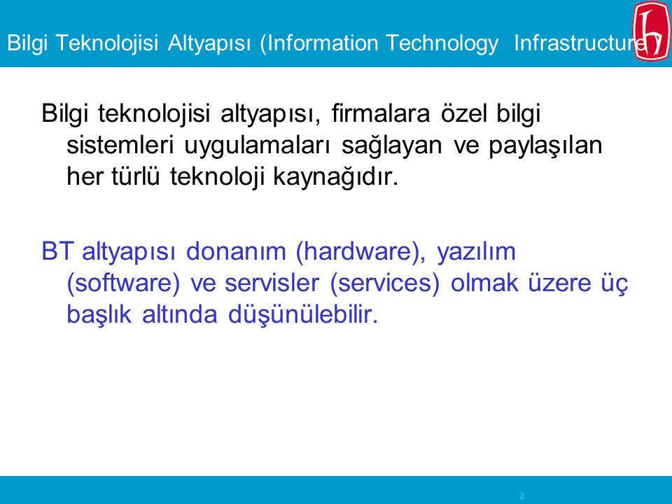 2 Bilgi Teknolojisi Altyapısı (Information Technology Infrastructure ) Bilgi teknolojisi altyapısı, firmalara özel bilgi sistemleri uygulamaları sağlayan ve paylaşılan her türlü teknoloji kaynağıdır.