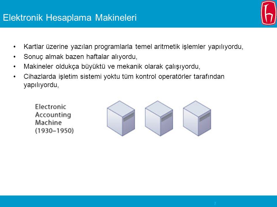 7 Elektronik Hesaplama Makineleri Kartlar üzerine yazılan programlarla temel aritmetik işlemler yapılıyordu, Sonuç almak bazen haftalar alıyordu, Makineler oldukça büyüktü ve mekanik olarak çalışıyordu, Cihazlarda işletim sistemi yoktu tüm kontrol operatörler tarafından yapılıyordu,