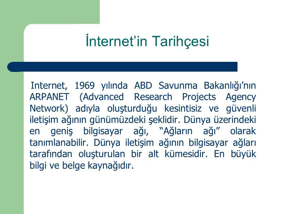İnternet'in Tarihçesi Internet, 1969 yılında ABD Savunma Bakanlığı'nın ARPANET (Advanced Research Projects Agency Network) adıyla oluşturduğu kesintisiz ve güvenli iletişim ağının günümüzdeki şeklidir.
