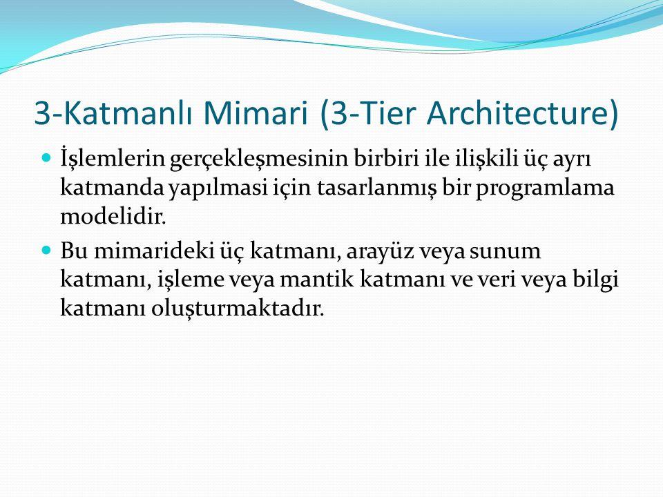 3-Katmanlı Mimari (3-Tier Architecture) İşlemlerin gerçekleşmesinin birbiri ile ilişkili üç ayrı katmanda yapılmasi için tasarlanmış bir programlama m