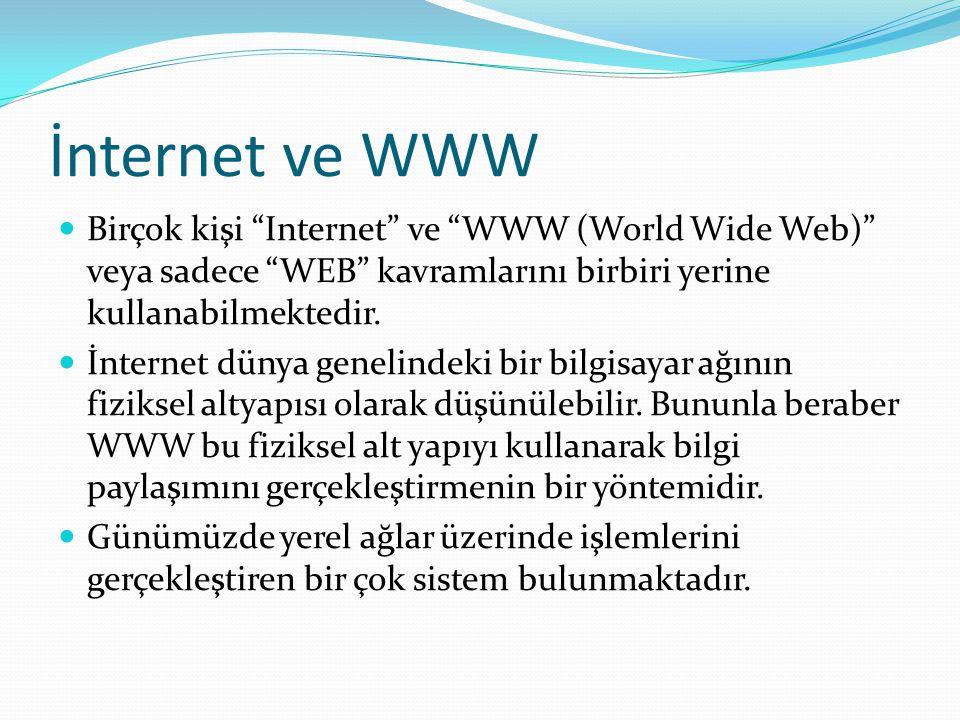 """İnternet ve WWW Birçok kişi """"Internet"""" ve """"WWW (World Wide Web)"""" veya sadece """"WEB"""" kavramlarını birbiri yerine kullanabilmektedir. İnternet dünya gene"""