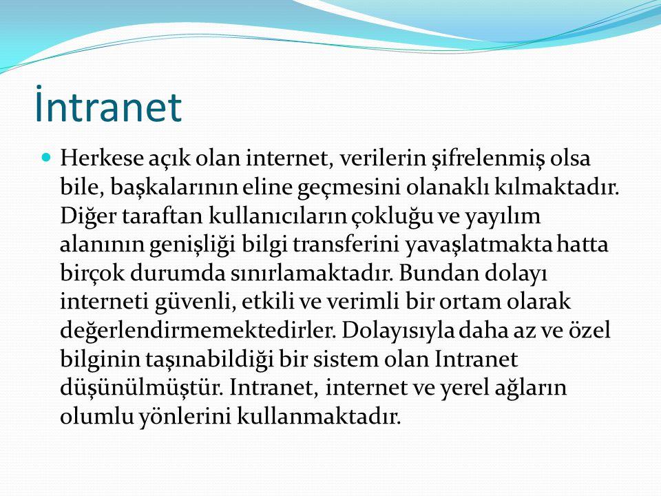 İntranet Herkese açık olan internet, verilerin şifrelenmiş olsa bile, başkalarının eline geçmesini olanaklı kılmaktadır. Diğer taraftan kullanıcıların