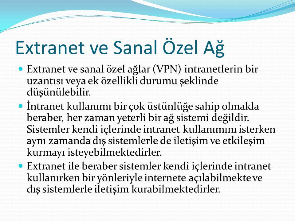 Extranet ve Sanal Özel Ağ Extranet ve sanal özel ağlar (VPN) intranetlerin bir uzantısı veya ek özellikli durumu şeklinde düşünülebilir. İntranet kull