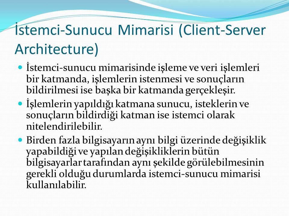İstemci-Sunucu Mimarisi (Client-Server Architecture) İstemci-sunucu mimarisinde işleme ve veri işlemleri bir katmanda, işlemlerin istenmesi ve sonuçla
