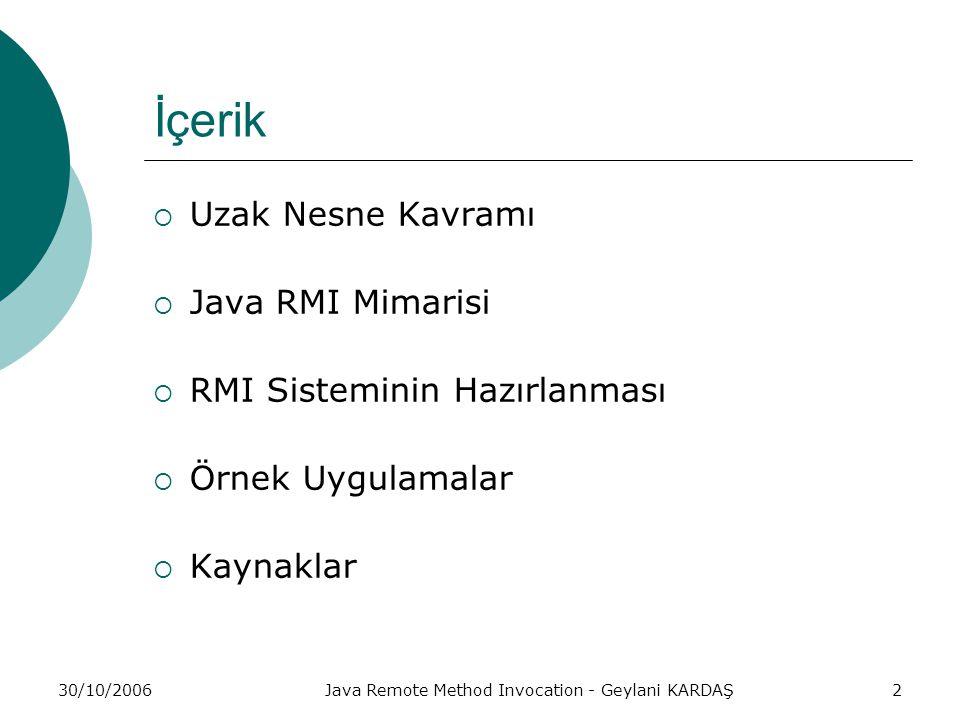 30/10/2006Java Remote Method Invocation - Geylani KARDAŞ2 İçerik  Uzak Nesne Kavramı  Java RMI Mimarisi  RMI Sisteminin Hazırlanması  Örnek Uygulamalar  Kaynaklar