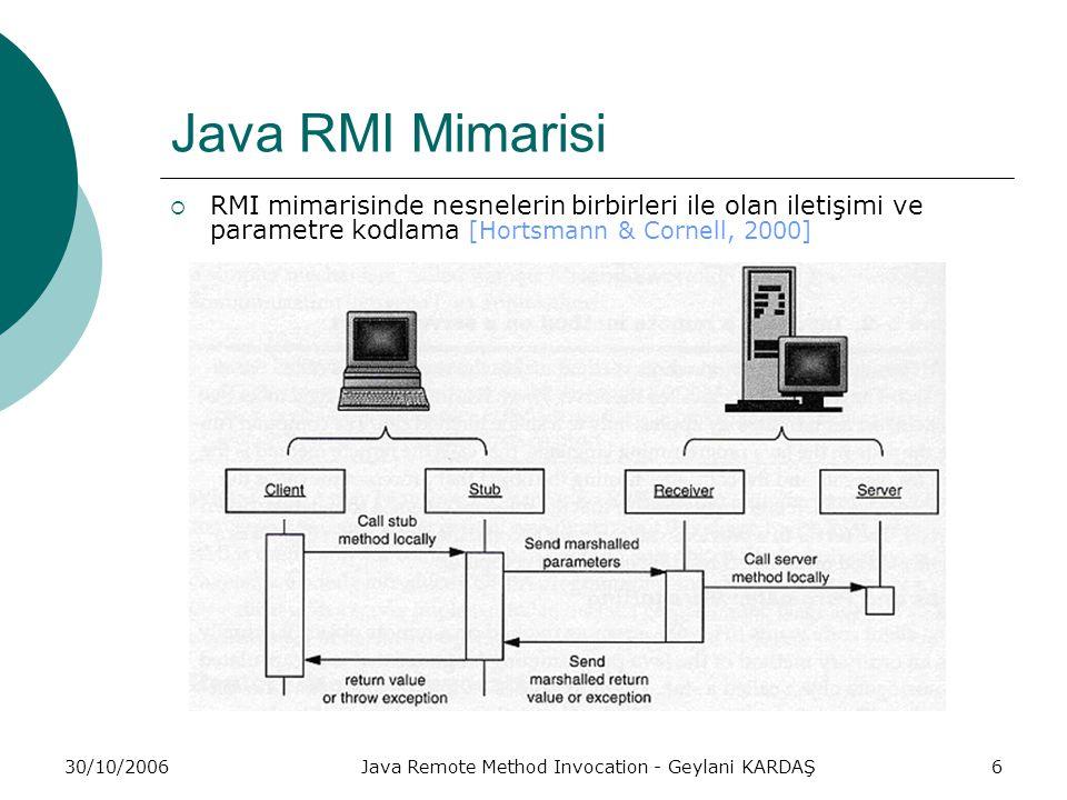 30/10/2006Java Remote Method Invocation - Geylani KARDAŞ7 Java RMI Mimarisi  İstemci bir uygulama uzak bir nesnenin metodunu kullanmak istediğinde stub adı verilen vekil bir nesnenin kapsadığı metodu sıradan bir Java nesnesinin metodunu kullanmak istermiş gibi çağırmaktadır.