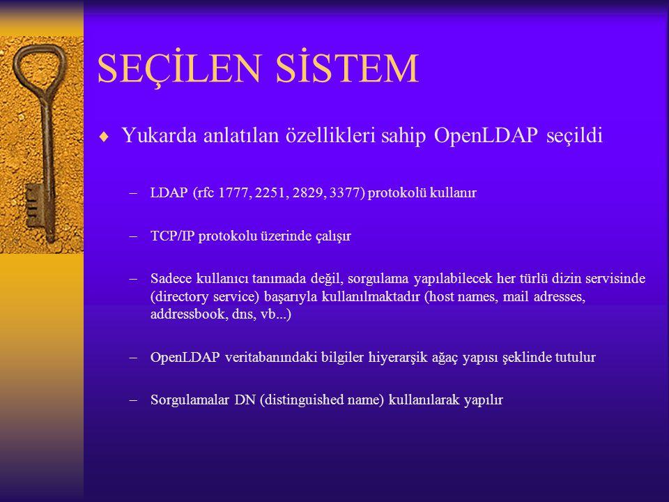 SEÇİLEN SİSTEM  Yukarda anlatılan özellikleri sahip OpenLDAP seçildi –LDAP (rfc 1777, 2251, 2829, 3377) protokolü kullanır –TCP/IP protokolu üzerinde çalışır –Sadece kullanıcı tanımada değil, sorgulama yapılabilecek her türlü dizin servisinde (directory service) başarıyla kullanılmaktadır (host names, mail adresses, addressbook, dns, vb...) –OpenLDAP veritabanındaki bilgiler hiyerarşik ağaç yapısı şeklinde tutulur –Sorgulamalar DN (distinguished name) kullanılarak yapılır