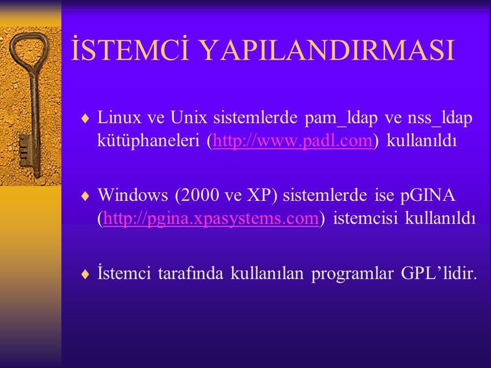 İSTEMCİ YAPILANDIRMASI  Linux ve Unix sistemlerde pam_ldap ve nss_ldap kütüphaneleri (http://www.padl.com) kullanıldıhttp://www.padl.com  Windows (2000 ve XP) sistemlerde ise pGINA (http://pgina.xpasystems.com) istemcisi kullanıldıhttp://pgina.xpasystems.com  İstemci tarafında kullanılan programlar GPL'lidir.