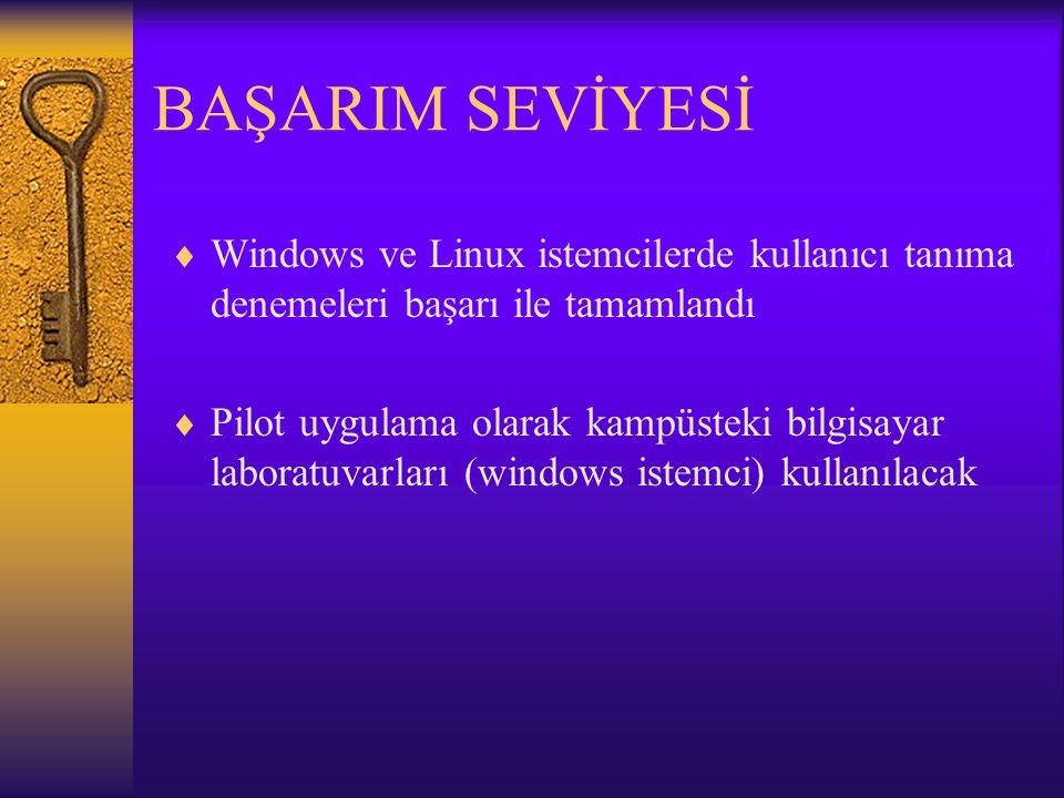 BAŞARIM SEVİYESİ  Windows ve Linux istemcilerde kullanıcı tanıma denemeleri başarı ile tamamlandı  Pilot uygulama olarak kampüsteki bilgisayar laboratuvarları (windows istemci) kullanılacak