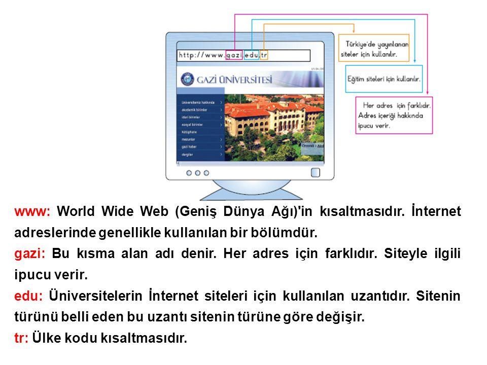 www: World Wide Web (Geniş Dünya Ağı)'in kısaltmasıdır. İnternet adreslerinde genellikle kullanılan bir bölümdür. gazi: Bu kısma alan adı denir. Her a