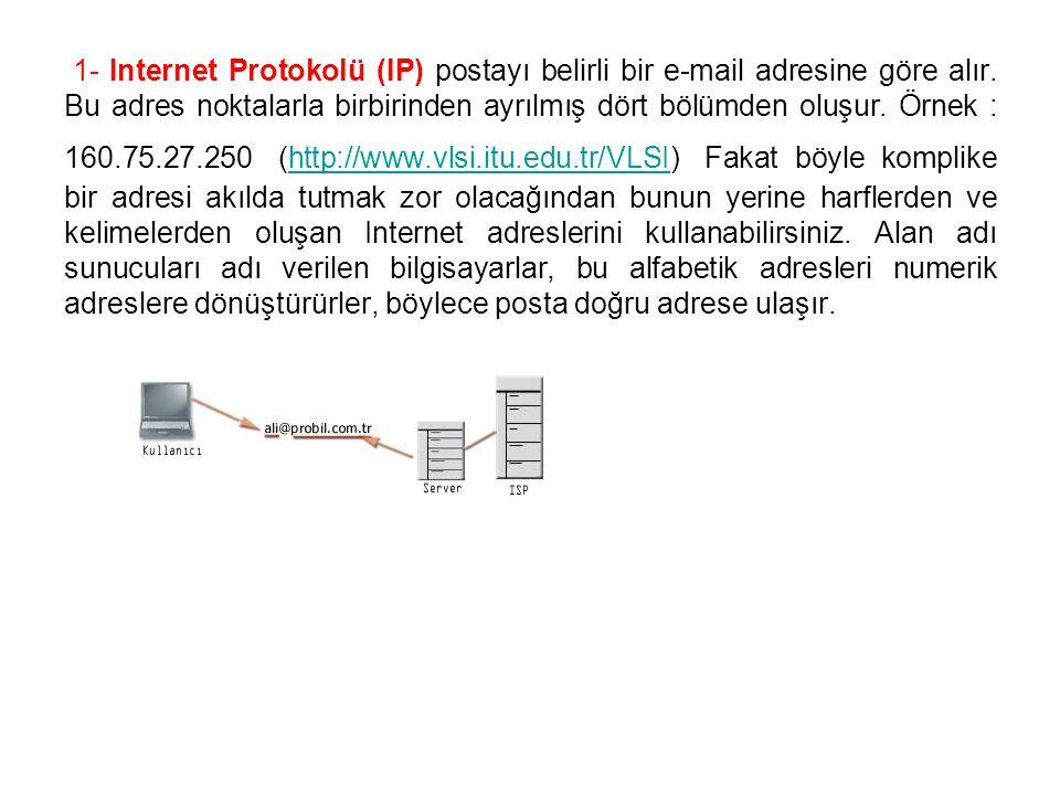 1- Internet Protokolü (IP) postayı belirli bir e-mail adresine göre alır. Bu adres noktalarla birbirinden ayrılmış dört bölümden oluşur. Örnek : 160.7