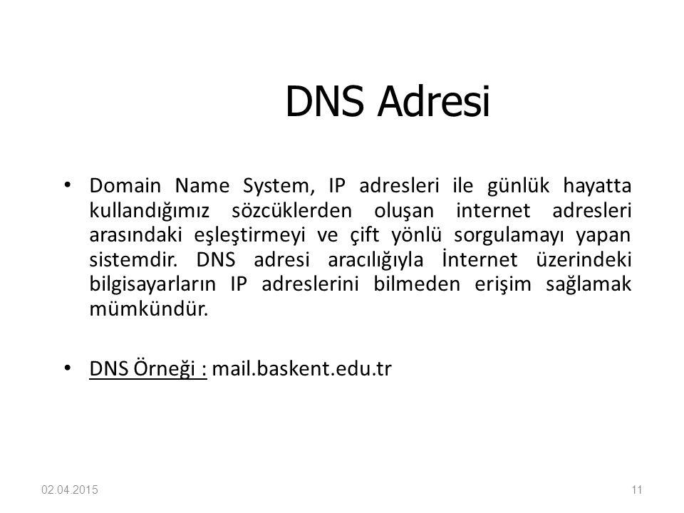 02.04.201511 DNS Adresi Domain Name System, IP adresleri ile günlük hayatta kullandığımız sözcüklerden oluşan internet adresleri arasındaki eşleştirme