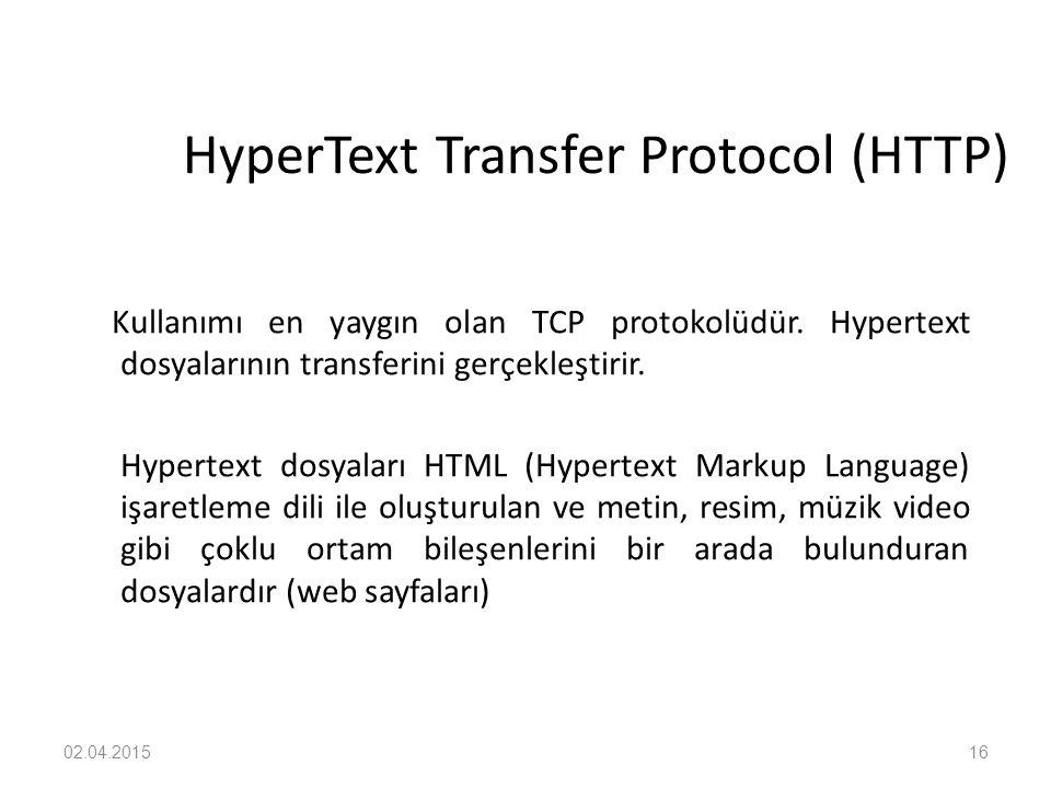 02.04.201516 HyperText Transfer Protocol (HTTP) Kullanımı en yaygın olan TCP protokolüdür. Hypertext dosyalarının transferini gerçekleştirir. Hypertex