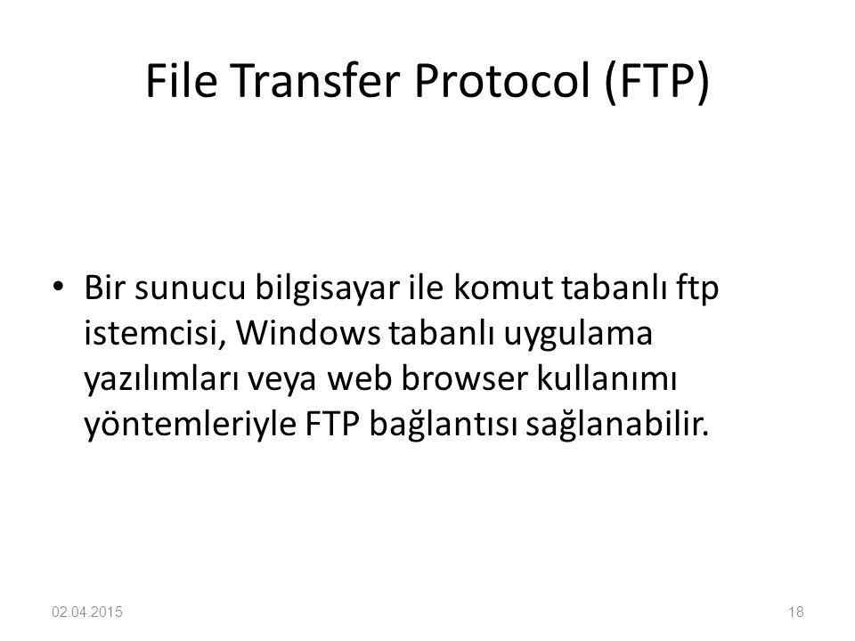 File Transfer Protocol (FTP) Bir sunucu bilgisayar ile komut tabanlı ftp istemcisi, Windows tabanlı uygulama yazılımları veya web browser kullanımı yö