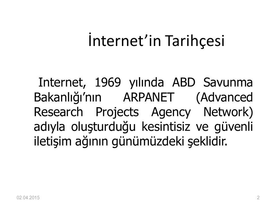 02.04.20152 İnternet'in Tarihçesi Internet, 1969 yılında ABD Savunma Bakanlığı'nın ARPANET (Advanced Research Projects Agency Network) adıyla oluşturd