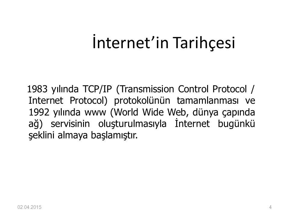 4 İnternet'in Tarihçesi 1983 yılında TCP/IP (Transmission Control Protocol / Internet Protocol) protokolünün tamamlanması ve 1992 yılında www (World W