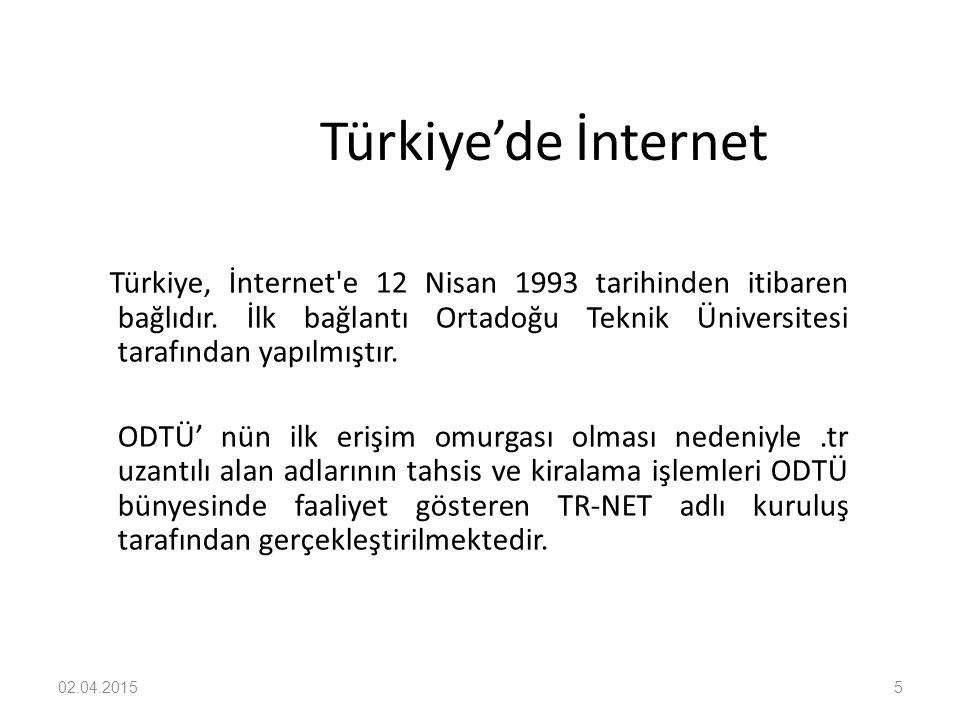 02.04.20155 Türkiye'de İnternet Türkiye, İnternet'e 12 Nisan 1993 tarihinden itibaren bağlıdır. İlk bağlantı Ortadoğu Teknik Üniversitesi tarafından y