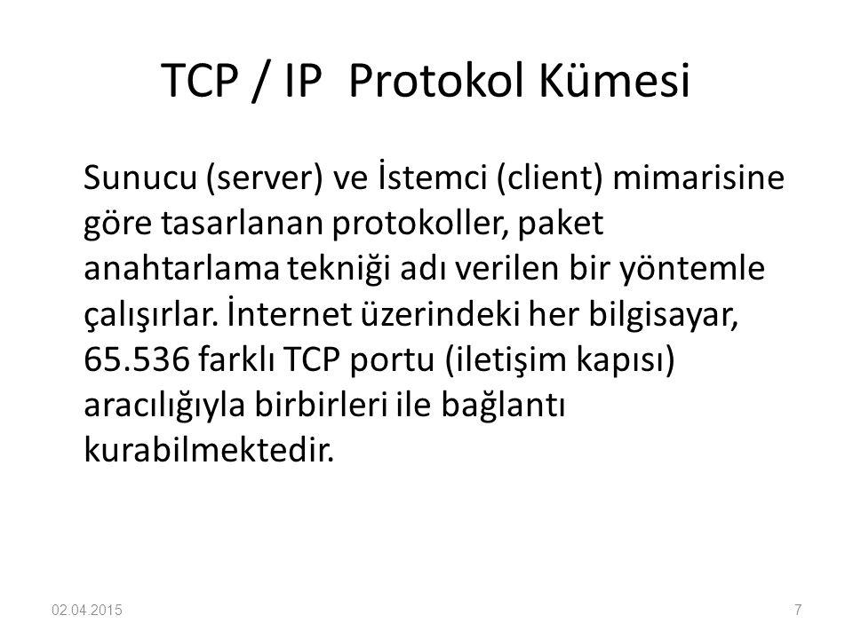 TCP / IP Protokol Kümesi Sunucu (server) ve İstemci (client) mimarisine göre tasarlanan protokoller, paket anahtarlama tekniği adı verilen bir yönteml