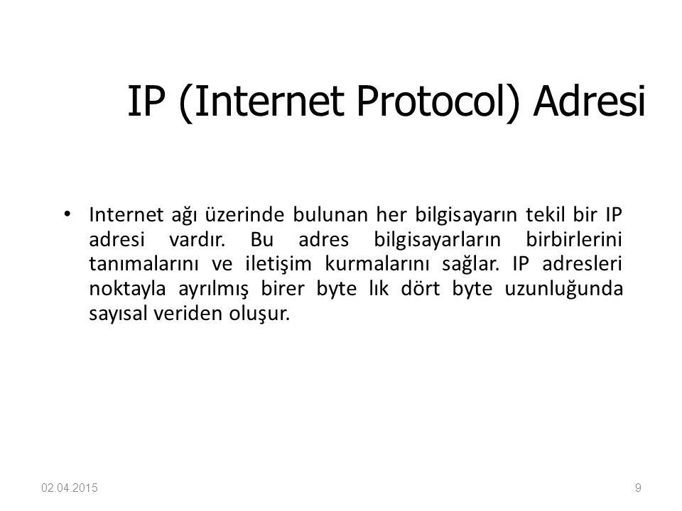9 IP (Internet Protocol) Adresi Internet ağı üzerinde bulunan her bilgisayarın tekil bir IP adresi vardır. Bu adres bilgisayarların birbirlerini tanım