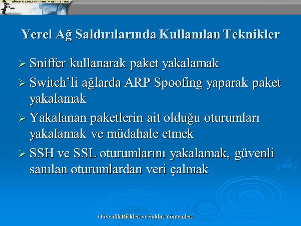 Güvenlik Riskleri ve Saldırı Yöntemleri Yerel Ağ Saldırılarında Kullanılan Teknikler  Sniffer kullanarak paket yakalamak  Switch'li ağlarda ARP Spoo