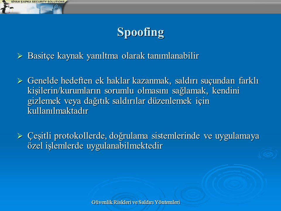 Güvenlik Riskleri ve Saldırı Yöntemleri Spoofing  Basitçe kaynak yanıltma olarak tanımlanabilir  Genelde hedeften ek haklar kazanmak, saldırı suçund
