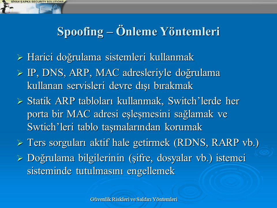 Güvenlik Riskleri ve Saldırı Yöntemleri Spoofing – Önleme Yöntemleri  Harici doğrulama sistemleri kullanmak  IP, DNS, ARP, MAC adresleriyle doğrulam