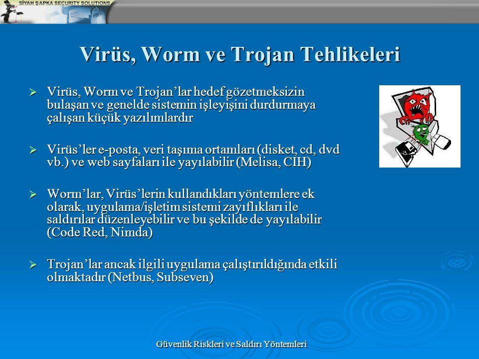 Güvenlik Riskleri ve Saldırı Yöntemleri Virüs, Worm ve Trojan Tehlikeleri  Virüs, Worm ve Trojan'lar hedef gözetmeksizin bulaşan ve genelde sistemin
