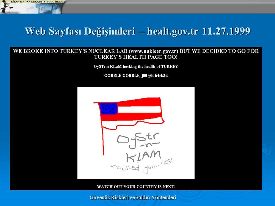 Güvenlik Riskleri ve Saldırı Yöntemleri Web Sayfası Değişimleri – healt.gov.tr 11.27.1999