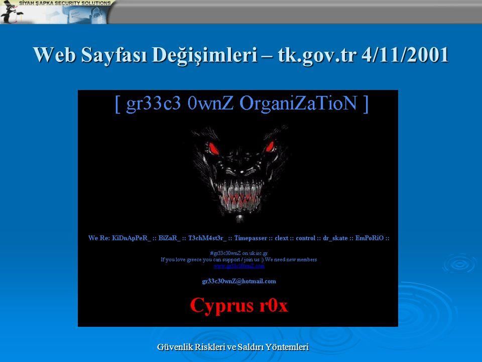 Güvenlik Riskleri ve Saldırı Yöntemleri Web Sayfası Değişimleri – tk.gov.tr 4/11/2001
