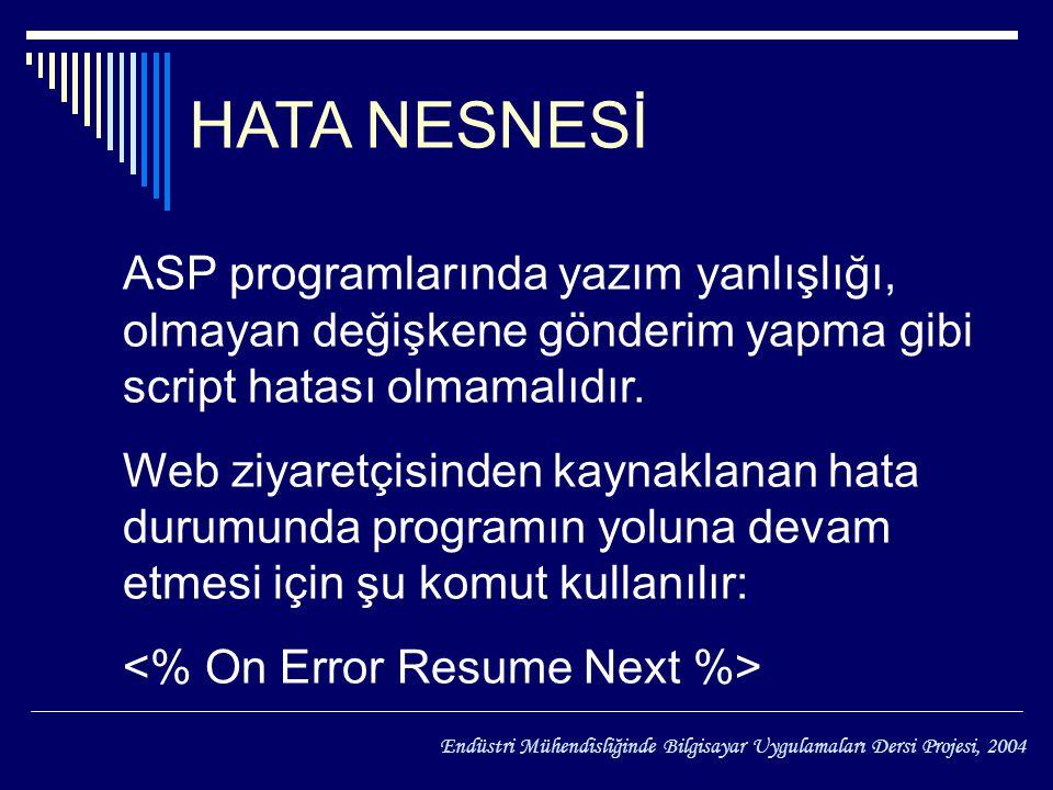 HAZİRAN Endüstri Mühendisliğinde Bilgisayar Uygulamaları Dersi Projesi, 2004 HATA NESNESİ ASP programlarında yazım yanlışlığı, olmayan değişkene gönderim yapma gibi script hatası olmamalıdır.