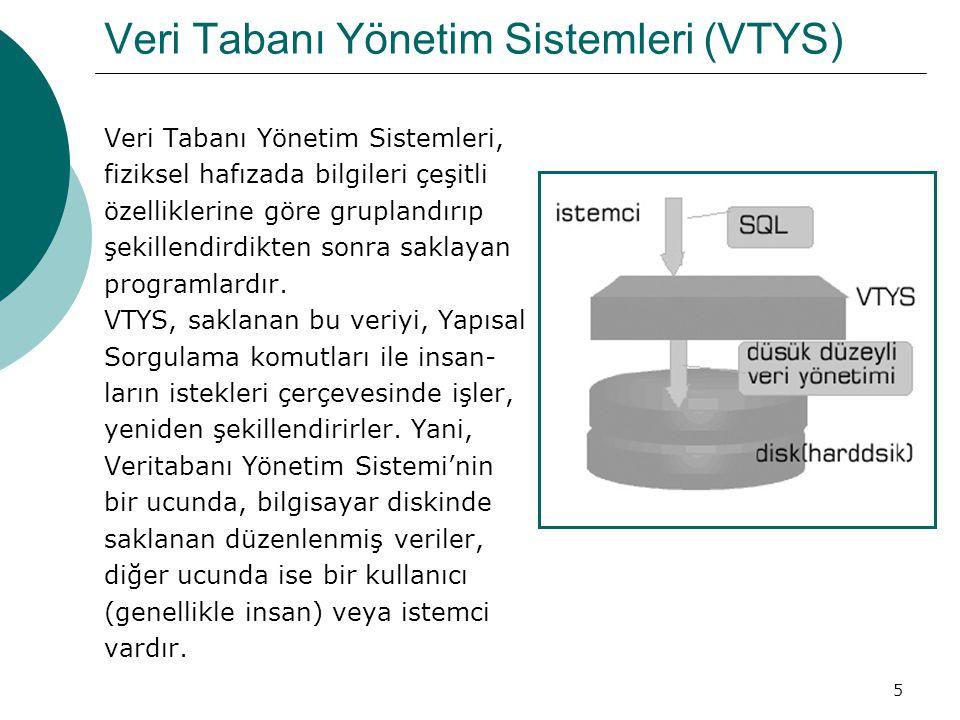 5 Veri Tabanı Yönetim Sistemleri (VTYS) Veri Tabanı Yönetim Sistemleri, fiziksel hafızada bilgileri çeşitli özelliklerine göre gruplandırıp şekillendi