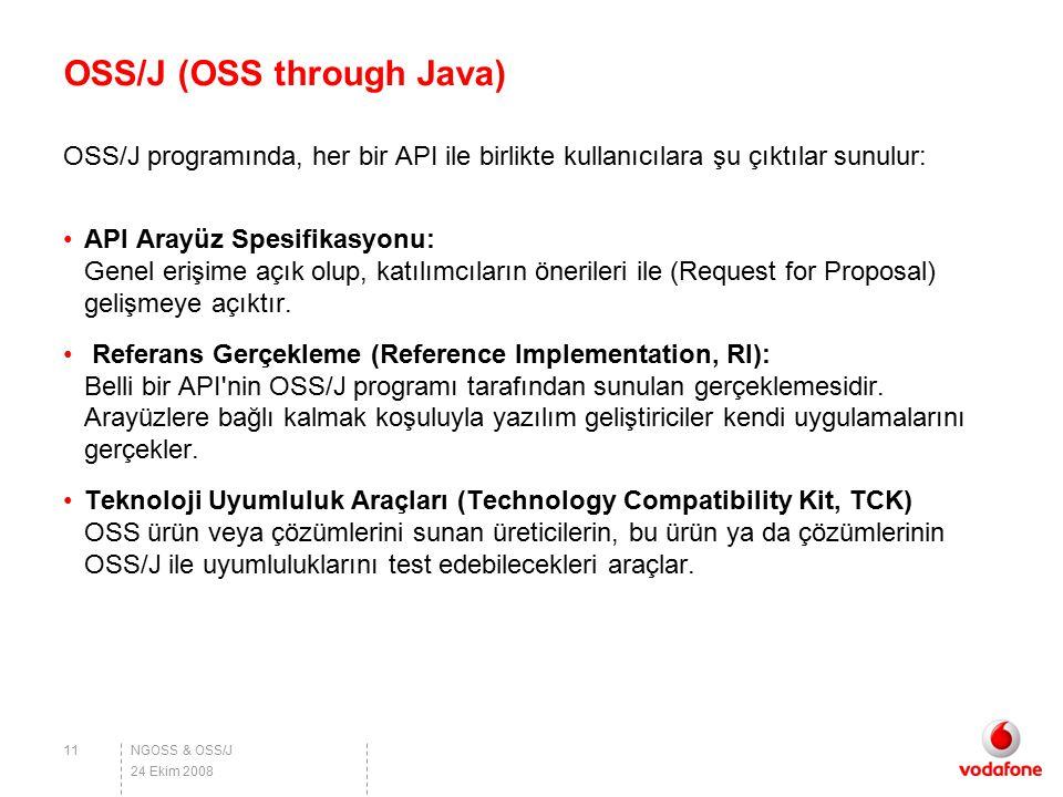NGOSS & OSS/J OSS/J (OSS through Java) OSS/J programında, her bir API ile birlikte kullanıcılara şu çıktılar sunulur: API Arayüz Spesifikasyonu: Genel