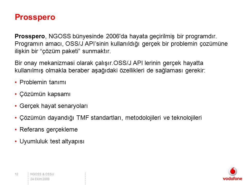NGOSS & OSS/J Prosspero Prosspero, NGOSS bünyesinde 2006'da hayata geçirilmiş bir programdır. Programın amacı, OSS/J API'sinin kullanıldığı gerçek bir