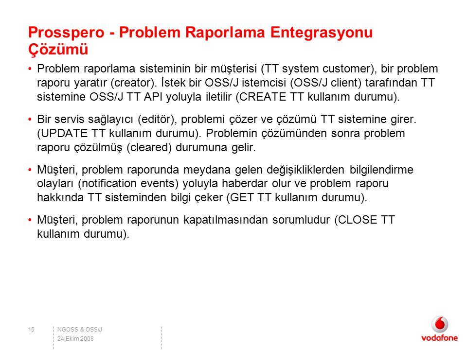 NGOSS & OSS/J Prosspero - Problem Raporlama Entegrasyonu Çözümü Problem raporlama sisteminin bir müşterisi (TT system customer), bir problem raporu ya