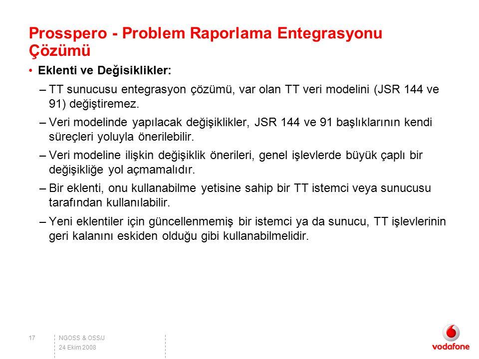 NGOSS & OSS/J Prosspero - Problem Raporlama Entegrasyonu Çözümü Eklenti ve Değisiklikler: –TT sunucusu entegrasyon çözümü, var olan TT veri modelini (