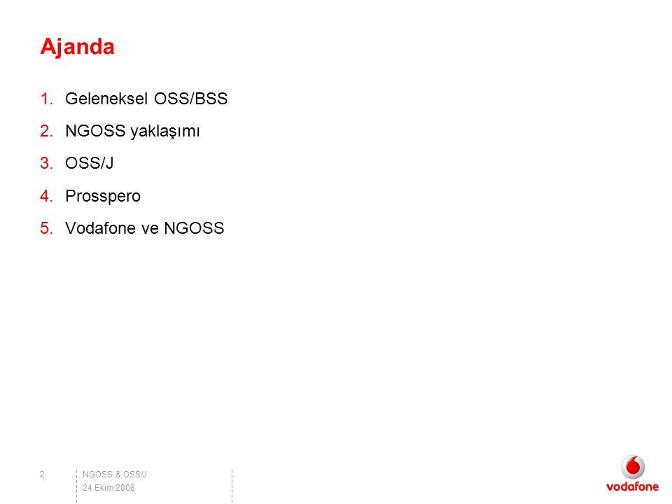 NGOSS & OSS/J Ajanda 1.Geleneksel OSS/BSS 2.NGOSS yaklaşımı 3.OSS/J 4.Prosspero 5.Vodafone ve NGOSS 2 24 Ekim 2008