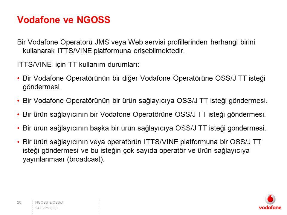NGOSS & OSS/J Vodafone ve NGOSS Bir Vodafone Operatorü JMS veya Web servisi profillerinden herhangi birini kullanarak ITTS/VINE platformuna erişebilme