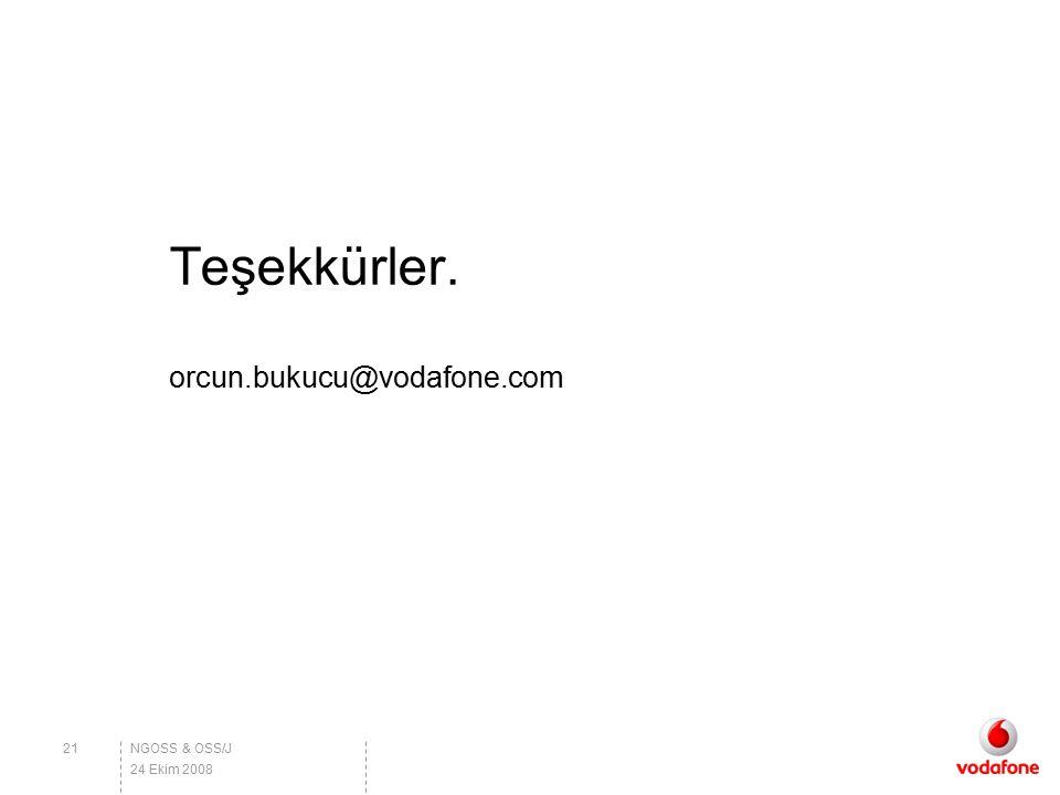 Teşekkürler. orcun.bukucu@vodafone.com NGOSS & OSS/J21 24 Ekim 2008