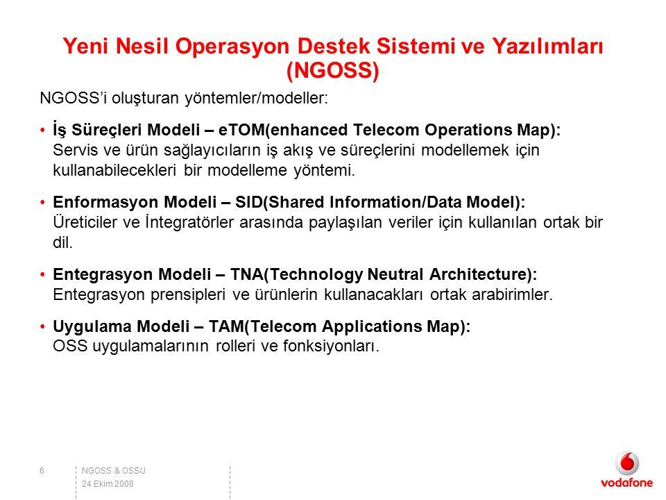 NGOSS & OSS/J Yeni Nesil Operasyon Destek Sistemi ve Yazılımları (NGOSS) NGOSS'i oluşturan yöntemler/modeller: İş Süreçleri Modeli – eTOM(enhanced Tel