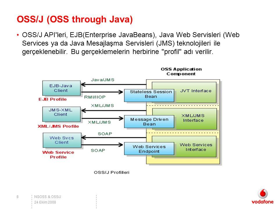 NGOSS & OSS/J OSS/J (OSS through Java) OSS/J API'leri, EJB(Enterprise JavaBeans), Java Web Servisleri (Web Services ya da Java Mesajlaşma Servisleri (