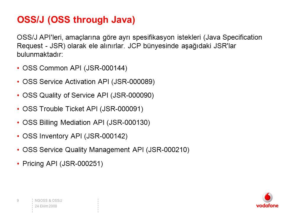 NGOSS & OSS/J OSS/J (OSS through Java) OSS/J API'leri, amaçlarına göre ayrı spesifikasyon istekleri (Java Specification Request - JSR) olarak ele alın